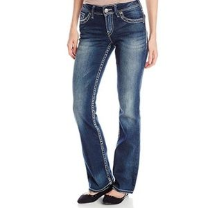 SILVER Suki Mid Rise Distressed Bootcut Jeans